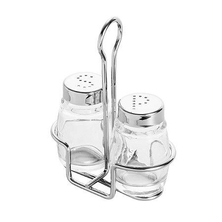 Conjunto Saleiro e Pimenteiro de vidro c/ Suporte