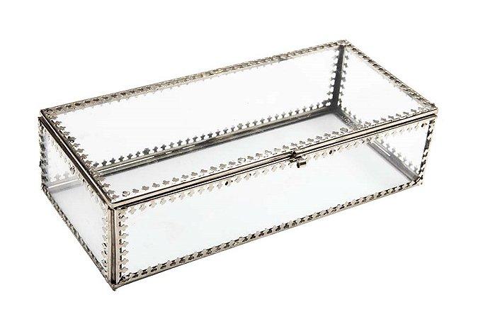 Caixa Organizadora Vidro Metal 20cm