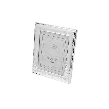 Porta Retrato Martelado Prateado 10x15cm