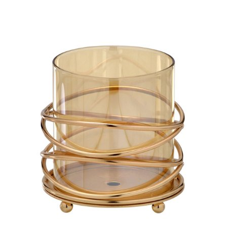 Candelabro Decorativo Dourado c/ Vidro 11cm