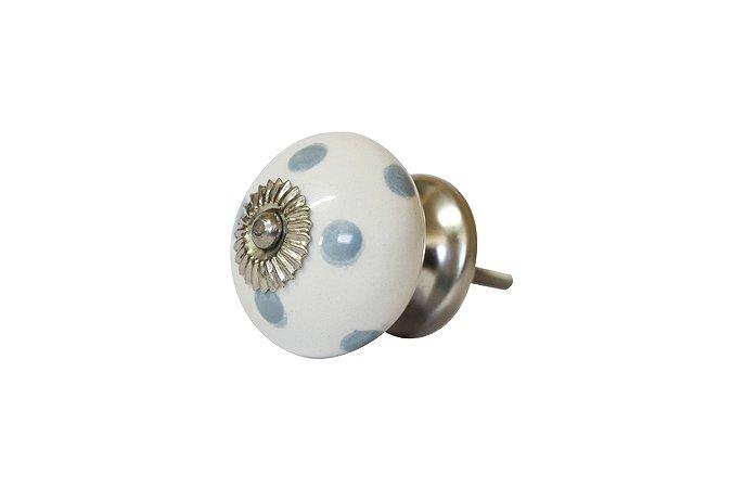 Puxador p/ Porta Cerâmica Branco e Bolinha Azul