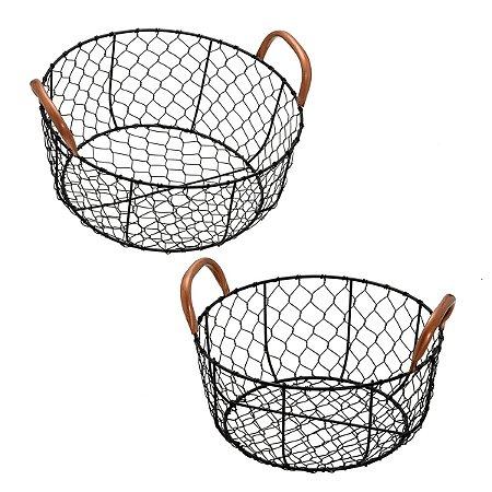 Jogo 2 cestas redondas decorativas