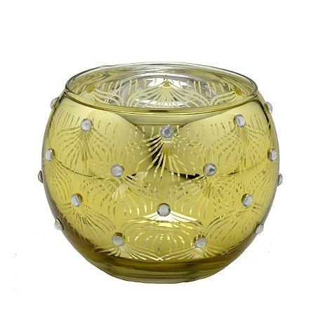 Candelabro vidro Dourado 9cm