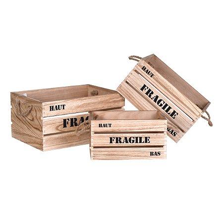 Jogo 3 caixas decorativas Fragile