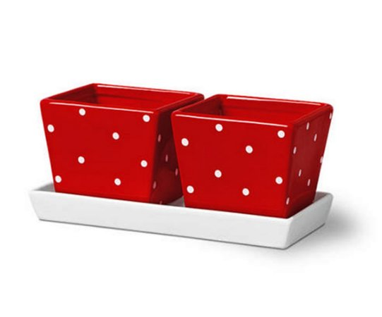 2 cachepots vermelho c/ bandeja