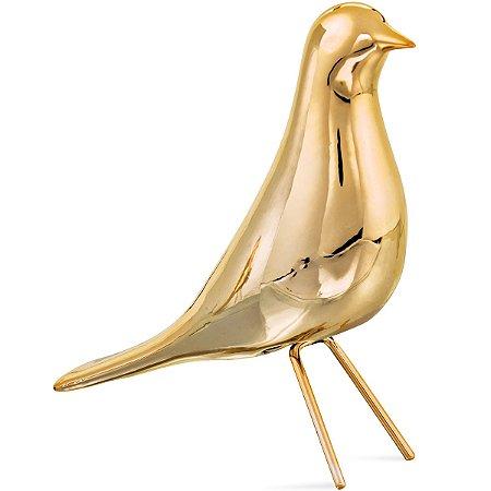 Pássaro Dourado decorativo 18cm