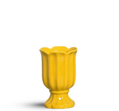 Cachepot taça pétalas amarelo