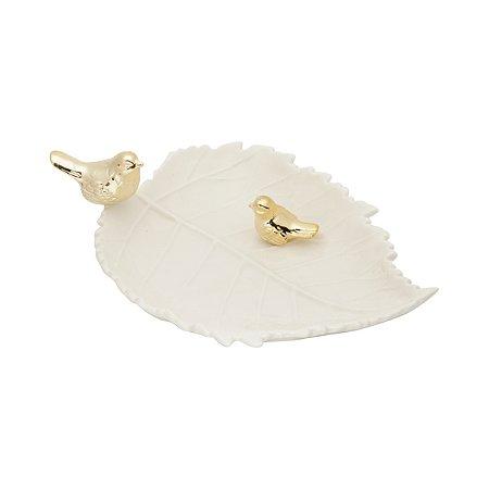 Folha decorativa branca c/ pássaros dourado