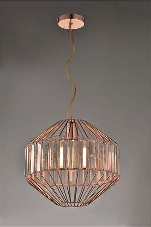 Pendente Rose Gold Transparente 31x25cm