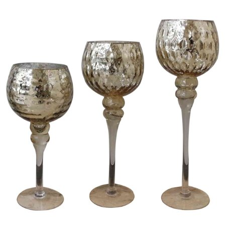 Jogo 3 Candelabros - Champagne