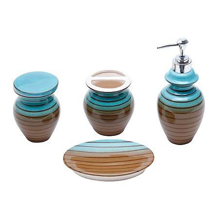 Conjunto p/ Banheiro Vertigo Verde e Marrom - 4 peças