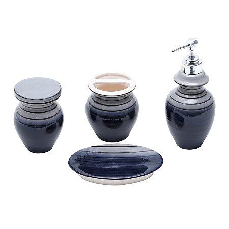 Conjunto p/ Banheiro Vertigo Cinza e Preto - 4 peças