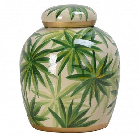 Pote Decorativo Folhas Lupino 18cm