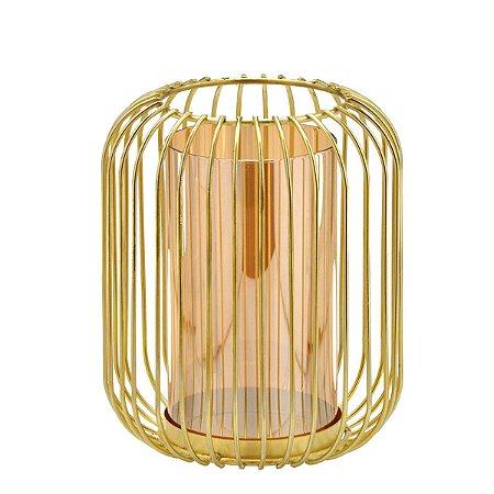 Candelabro Dourado c/ Vidro 19cm