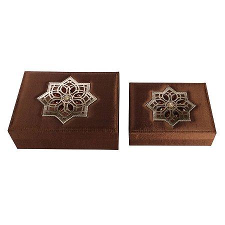 Jogo 2 Caixas Decorativas Marrom