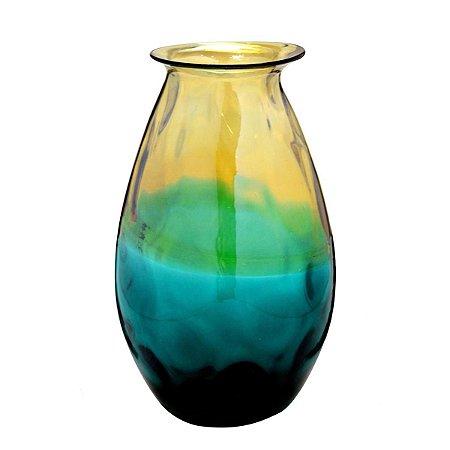 Vaso Vidro Azul Amarelo 26,5cm