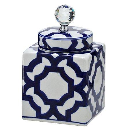 Potiche Quadrado Decorativo Branco c/ Azul