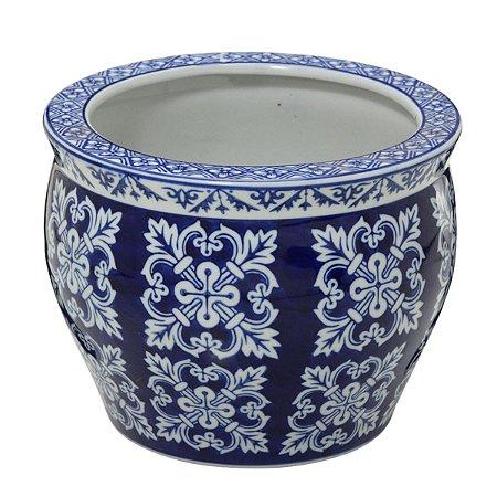 Cachepot Decorativo Azul e Branco