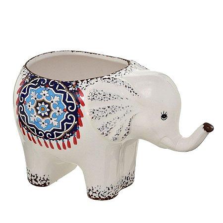 Cachepot Elefante Branco Decorativo 26cm
