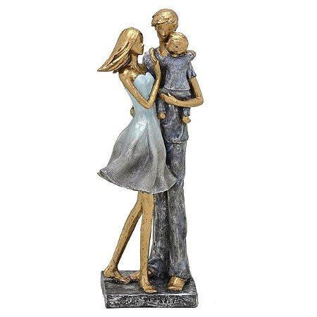 Casal com Filho Decorativo Dourado Cinza 32cm