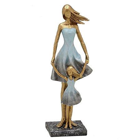 Mãe e Filha Decorativa Dourado Cinza 40cm