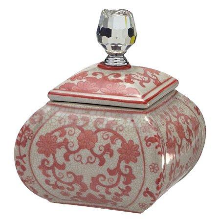 Pote Decorativo Branco c/ Rosa 18,5cm