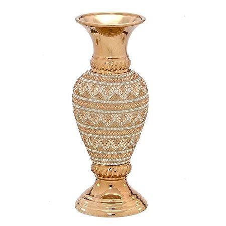 Vaso Decorativo Cerâmica Dourado 33cm