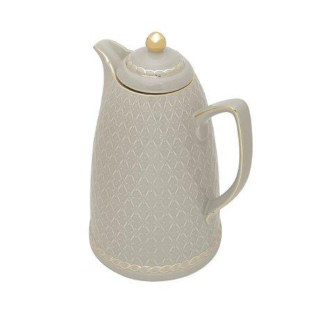 Garrafa Térmica Porcelana Renda Cinza 900ml