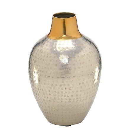 Vaso Decorativo Metal Prata c/ Dourado 23cm
