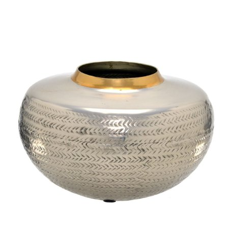 Vaso Decorativo Metal Prata c/ Dourado 29cm