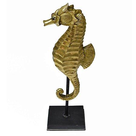 Estatueta Cavalo Marinho Dourado Seahorse