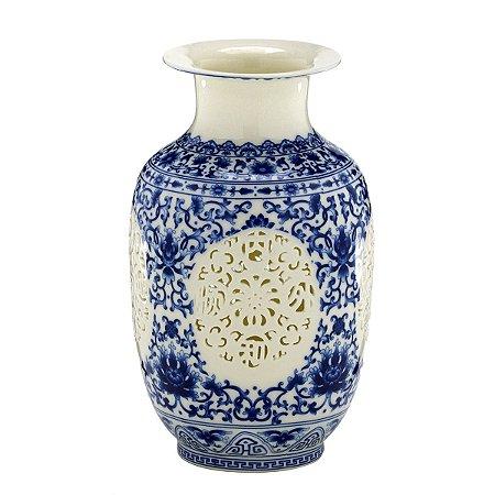 Vaso Cerâmica Azul e Branco 24cm