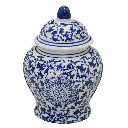 Potiche Decorativo Branco e Azul 20cm