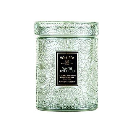 Mini Vela White Cypress Pote Vidro Relevo 50H