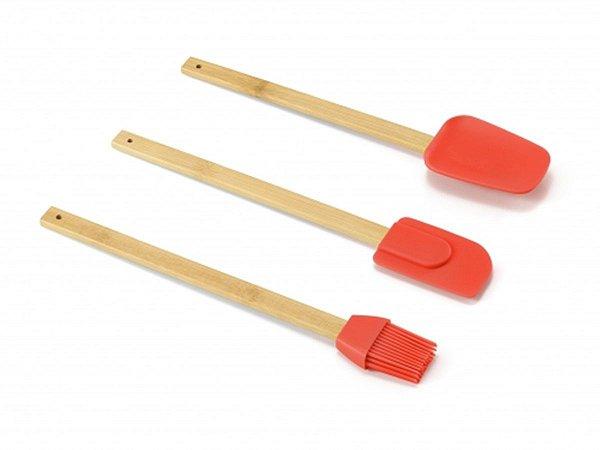 Conjunto 3 Utensílios Bambu Vermelho