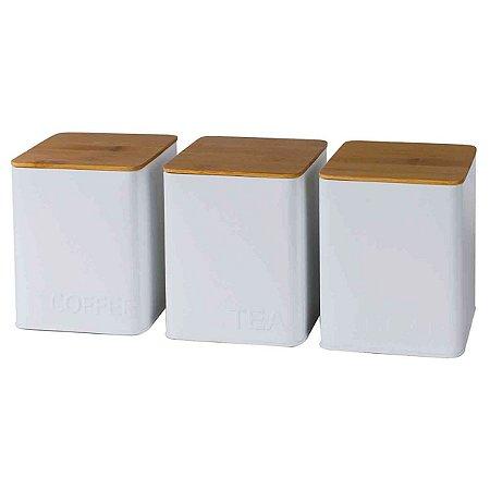 Conjunto 3 Potes Branco Quadrado BTC
