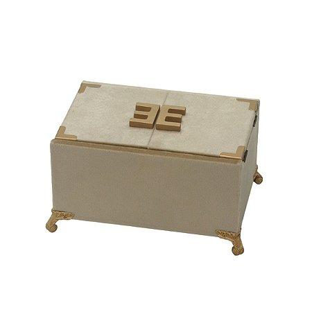 Caixa Decorativa Bege c/ Dourado Mabruk