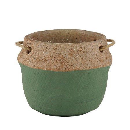 Vaso Decorativo c/ Alça Verde e Palha 18cm Rojemac