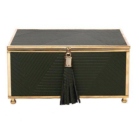 Caixa Decorativa Verde c/ Dourado 18cm Rojemac