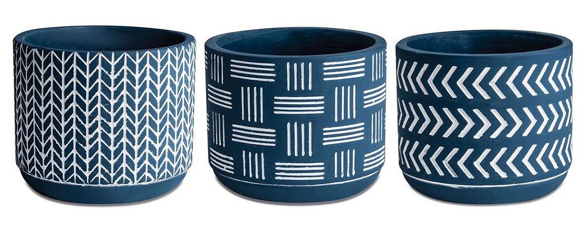 Kit Cachepot Cimento Azul 3 peças Mart