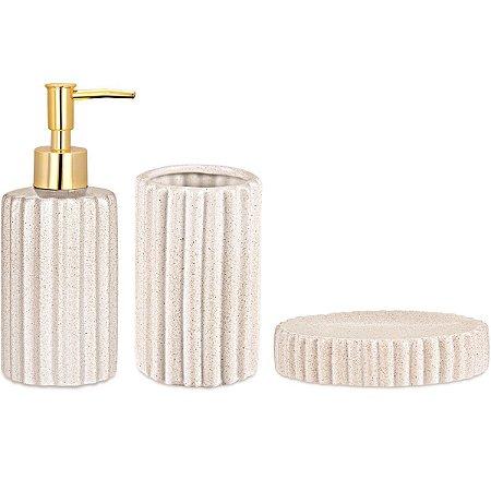 Kit p/ Banheiro Branco 3 peças Mart