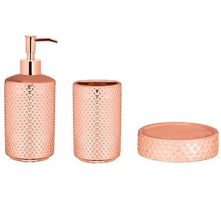 Kit p/ Banheiro Rose Gold 3 peças Mart
