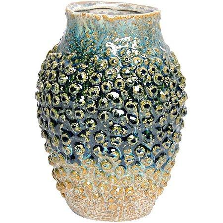 Vaso Decorativo Cerâmica Azul 24cm GS