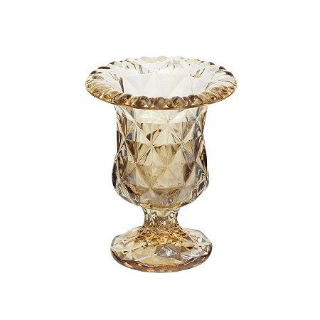 Vaso Decorativo Diamond Âmbar Metalizado Lyor