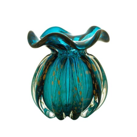 Vaso Murano Italy Azul Marinho e Rosê 13cm Lyor