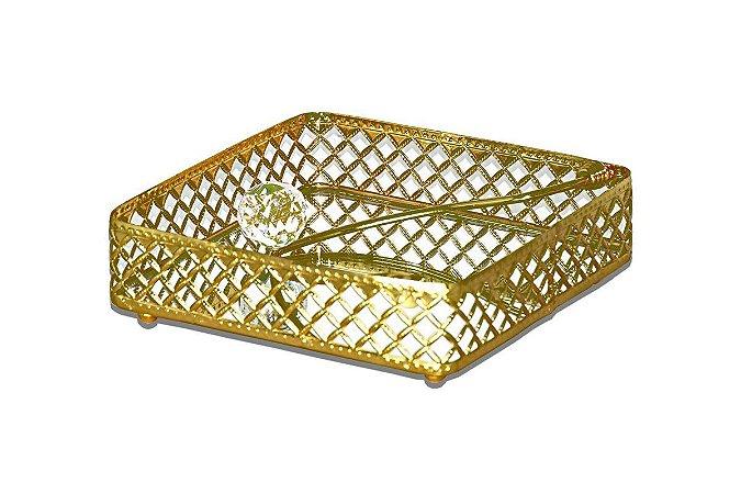 Porta Guardanapos Metal Ouro Vylux