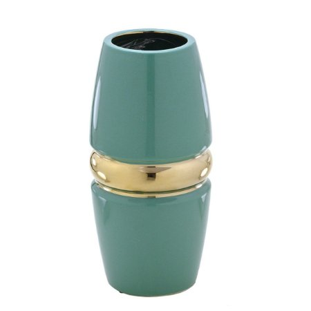 Vaso Decorativo Verde c/ Dourado 25cm Mabruk