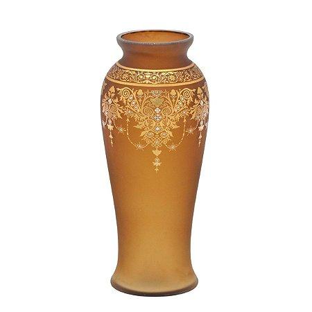 Vaso Vidro Marrom c/ Dourado 27cm Mabruk