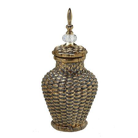 Potiche Decorativo Dourado Envelhecido 36cm Mabruk