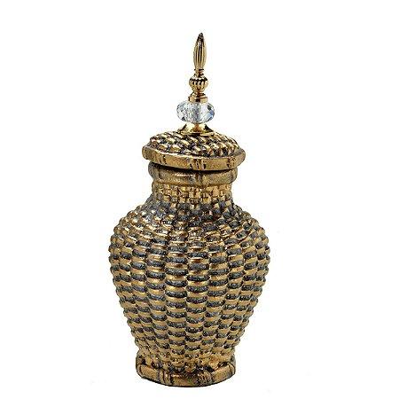 Potiche Decorativo Dourado Envelhecido 39cm Mabruk
